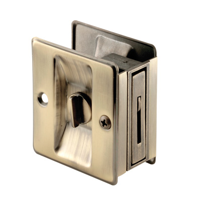 Picture of N 6774 - Pocket Door Privacy Lock  and Pull, 2-3/4 inch tall, Antique Brass, 1 pack