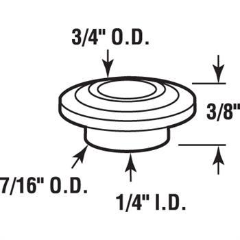 Picture of N 6863 - Bi-Fold Door Guide Cap, Nylon, Fits 1/4 inch Guide Pin, 25 per package