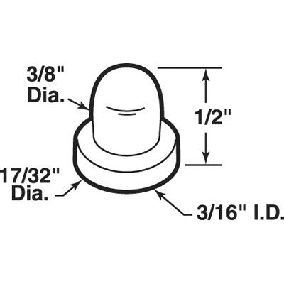 Picture of N 7039 - Bi-Fold Door Guide Cap,  Closed Top, Fits 3/16 Inch Rod or Tip, Package of 25