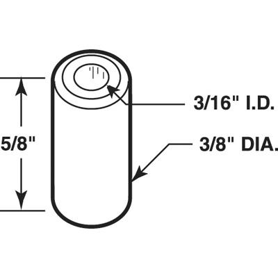 Picture of N 7040 - Bi-Fold door Guide Cap,  Fits 3/16 inch Rod/Tip, Nylon, Kinkead, 25 per package