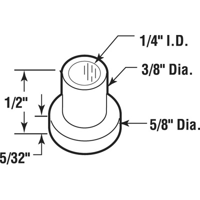 Picture of N 7051 - Bi-Fold Door Guide or  Pivot Cap, Nylon, Fits 1/4 inch Rod, 25 per package
