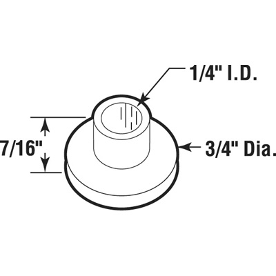 Picture of N 7052 - Bi-Fold Door Guide or  Pivot Cap, Nylon, Fits 1/4 inch Rod, 25 per package