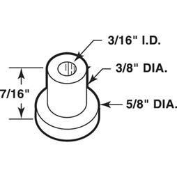 Picture of N 7053 - Bi-Fold Door Guide or  Pivot Cap, Nylon, Fits 3/16 inch Rod Tip, 25 per package