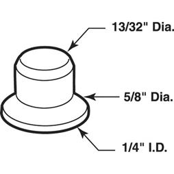 Picture of N 6922 - Bi-Fold Door Guide or  Pivot Cap, Nylon, Fits 1/4 inch Rod Tip, 25 per package
