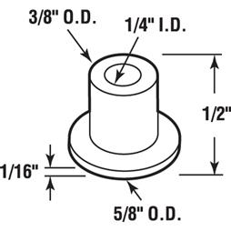 Picture of N 6916 - Bi-Fold Door Guide or  Pivot Cap, Nylon, Fits 1/4 inch Tip, 25 per package
