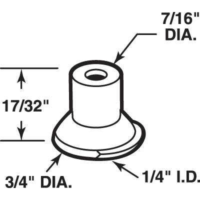 Picture of N 6919 - Bi-Fold Door Guide or  Pivot Cap, Nylon, Fits 1/4 inch Tip, 4 per package