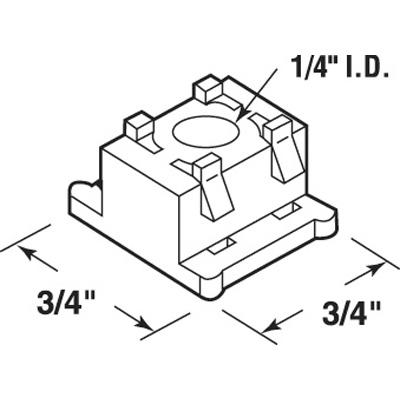 Picture of N 7058 - Bi-Fold Door Guide Cap, Nylon, Fits 1/4 inch Rod, 25 per package