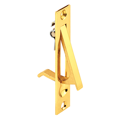 Picture of N 6979 - Pocket Door Flush Edge Pull, Solid Brass, Polished Brass, Fasteners included, 1 Pack