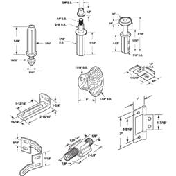 Picture of N 6996 - Bi-Fold 4-Door Hardware Kit, Pivots, Guides, Brackets, Knobs, 1 Kit per Package