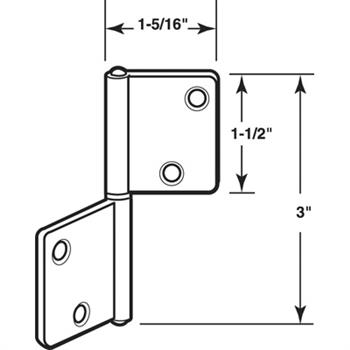 N 7025   Bi Fold Door Hinges, Non  Mortise Style, Brass Plated, Set Of 2  Per Package