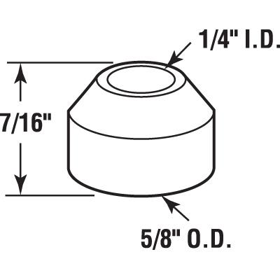 Picture of N 7059 - Bi-Fold Door Pivot Cap, Fits 1/4 inch tip, Nylon, 11/16 inch diameter, 4 per package