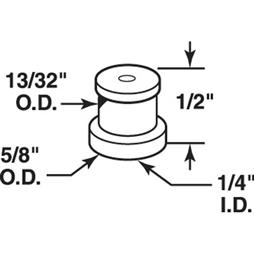 Picture of N 7062 - Bi-Fold Door Guide Cap, National Doors, Nylon, Fits 1/4 inch Rod, 4 per package