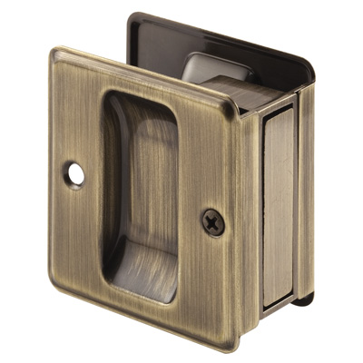 Picture of N 7080 - Pocket Door Pull, Fits up to 1-3/4 inch thick door, Antique Brass, 1 Pack