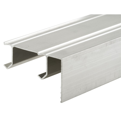 """Picture of N 7084 - Sliding Closet Door Track, Extruded Aluminum with Fascia, Two """"J"""" Channels"""