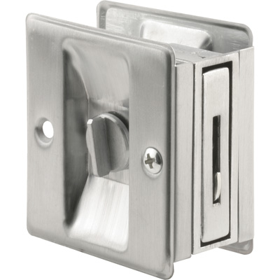 Picture of N 7161 - Pocket Door Privacy Lock  and Pull, 2-3/4 inch tall, Satin Chrome, 1 pack