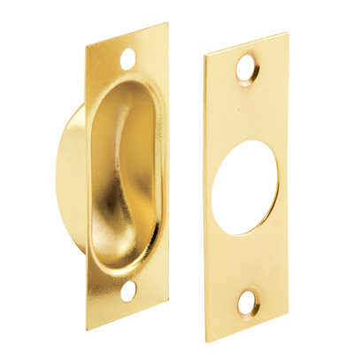 Picture of N 7196 - Pocket Door Flush Edge Pull, Polished Brass, Fasteners included, 1 Pack