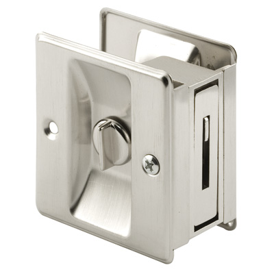 Picture of N 7239 - Pocket Door Privacy Lock  and Pull, 2-3/4 inch tall, Satin Nickel, 1 pack