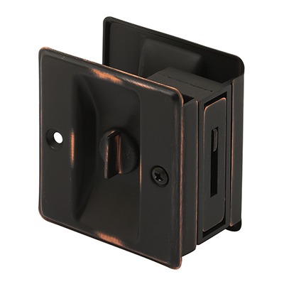 Picture of N 7319 - Pocket Door Privacy Lock  and Pull, 2-3/4 inch tall, Classic Bronze