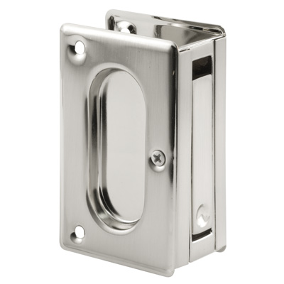 Picture of N 7363 - Pocket Door  Pull, 3-3/4 inches tall, Satin Nickel