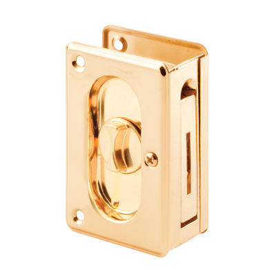 Picture of N 7365 - Pocket Door Privacy Lock  and Pull, 3-3/4 inches tall, Polished Brass