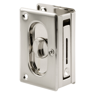 Picture of N 7367 - Pocket Door Privacy Lock  and Pull, 3-3/4 inches tall, Satin Nickel