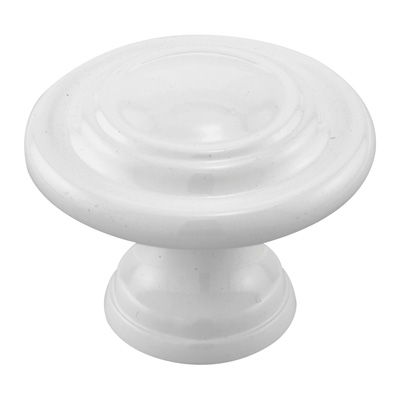 Picture of N 7439 - Bi-Fold Door Pull Knob, 1-11/16 inches diameter, Diecast, White, 2 per package