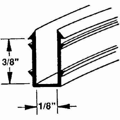 "Picture of P 7537 - Glass Retaining Spline, Glazing ""U"" Channel, Gray Vinyl, 1000' per roll."