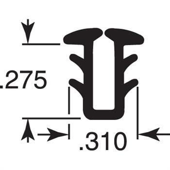 "Picture of P 7623 - Glass Retaining Spline, Glazing ""U"" Channel, Black Vinyl, 100' per roll."