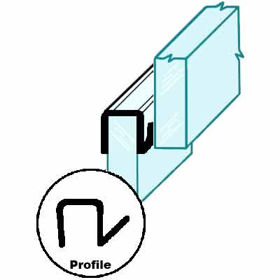 """Picture of P 7627 - Window Weatherstrip for 3/16"""" Louver Windows. Clear vinyl. 20' per package."""