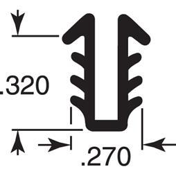 "Picture of P 7746 - Glass Retaining Spline, Glazing ""U"" Channel, Gray Vinyl, 100' per roll."