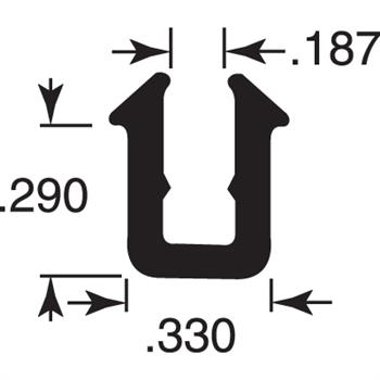 "Picture of P 7760 - Glass Retaining Spline, Glazing ""U"" Channel, Gray Vinyl, 800' per roll."