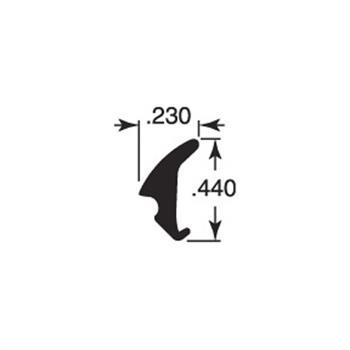 "Picture of P 7772 - Glazing Spline, Flexible Vinyl Push-in Bead, .230"" x .440"", Gray, 1000' per roll."