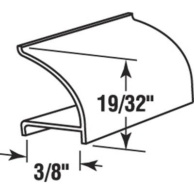 """Picture of P 7816 - Glass Retainer, Rigid Vinyl Snap-in Glazing Bead, Black, 72"""". 25 per Carton"""