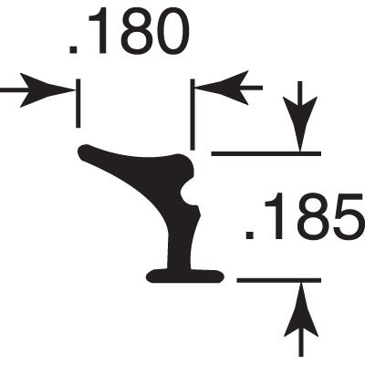 "Picture of P 8180 - Glazing Spline, Flexible Vinyl Push-in Bead, .180"" x .185"", Gray, 100' per roll."