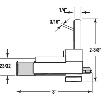 Picture of PL 15957 - Prime-Line Sears Screen Corner Latch, 3 inch, Plastic, White, Left