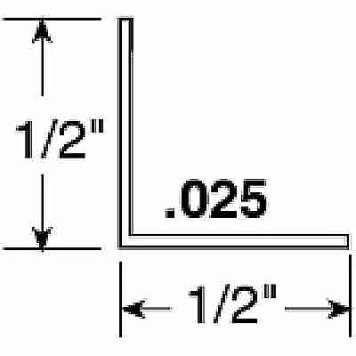 Picture of PL 14151 - Prime-Line 1/2 inch x 1/2 inch Aluminum Angle, White, 72 inches long