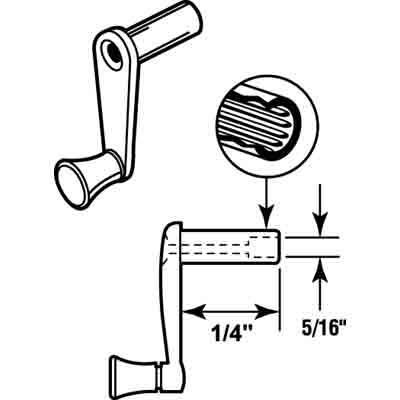 "Picture of R 7008 - RV WINDOW CRANK HANDLE, 1/4"" STEM"
