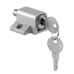 "Picture of S 4004 - Patio Door Lock, Keyed, 1-3/4"", Zinc, Aluminum Color"
