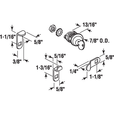 Picture of S 4044 - MAIL BOX LOCK SET 3 CAM