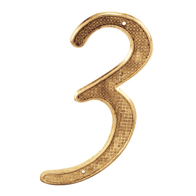"""Picture of S 4283 - 4"""" BRASS FINISH NUMBER """"3"""""""