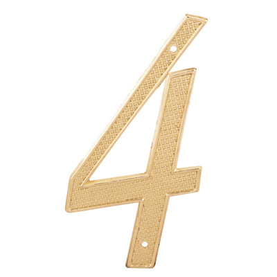 """Picture of S 4284 - 4"""" BRASS FINISH NUMBER """"4"""""""