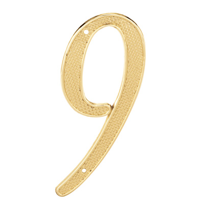 """Picture of S 4289 - 4"""" BRASS FINISH NUMBER """"9"""""""