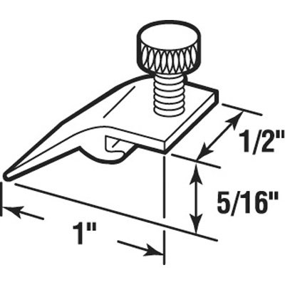 Picture of K 5321 - Storm Door Panel Clips, Extruded, 5/16 inch drop, White Plastic Thumbscrew, Pack of 8