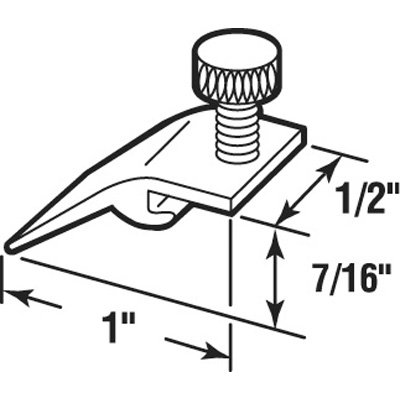 Picture of K 5323 - Storm Door Panel Clips, Extruded, 7/16 inch drop by 1 inch long, Pack of 8