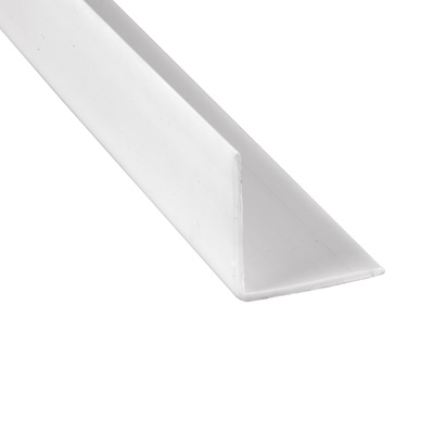 Picture of U 10067 - Corner Shield, White Vinyl, 1-1/8 by 1-1/8 by 48 inches, Blank, No Holes.