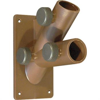 Picture of U 10253 - Double Flag Pole Holder, Dark Brown UV Resistant Plastic, Fits up to 1 inch Poles