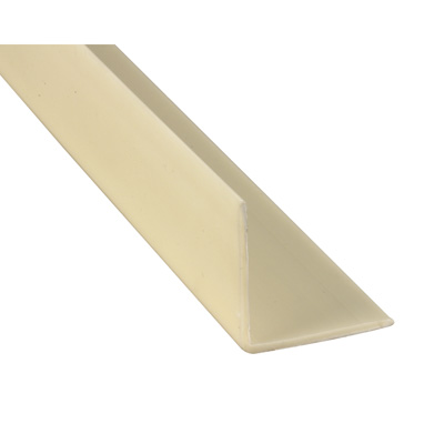Picture of U 10345 - Corner Shield, Almond Vinyl, 1-1/8 by 1-1/8 by 48 inches, Pre-Drilled Mounting Holes