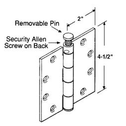"Picture of U 9164 - PLAIN BEARING HINGE, 4-1/2""X4-1/2"", SQUARE, DULL CHROME, NRP"