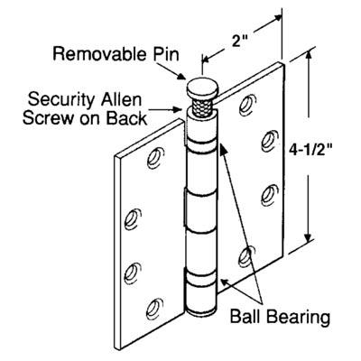 "Picture of U 9166 - BALL BEARING HINGE, 4-1/2"" X 4-1/2"", DULL CHROME, NRP"