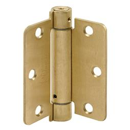 "Picture of U 9225 - SPRING HINGE, 3-1/2"" X 3-1/2"", 1/4"" RAD, DULL BRASS, UL"